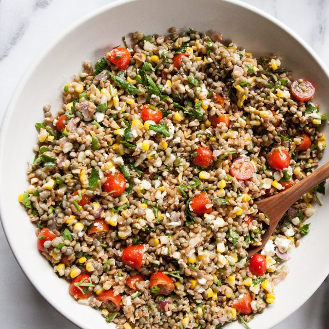 Farro Salad with Lentils, Corn, Tomatoes and Feta