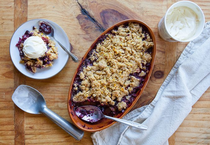 Peach-Berry Corn Crisp | A Sweet Spoonful