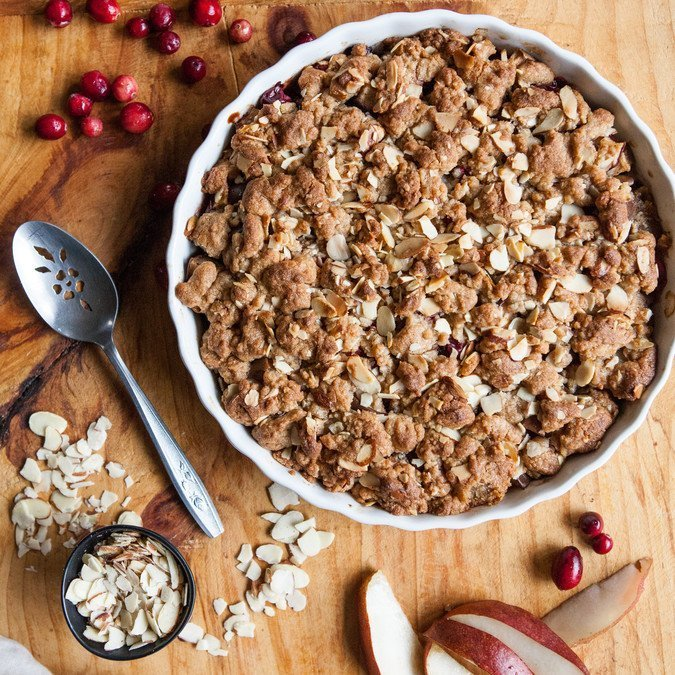 Spiced Pear, Cranberry and Marzipan Crumble | A Sweet Spoonful