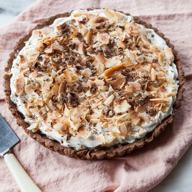 Coconut Cream Tart with Chocolate-Almond Crust | A Sweet Spoonful