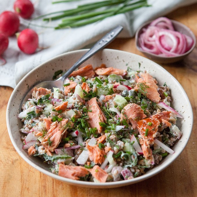 Smoked Salmon Rye Berry Bowl | A Sweet Spoonful