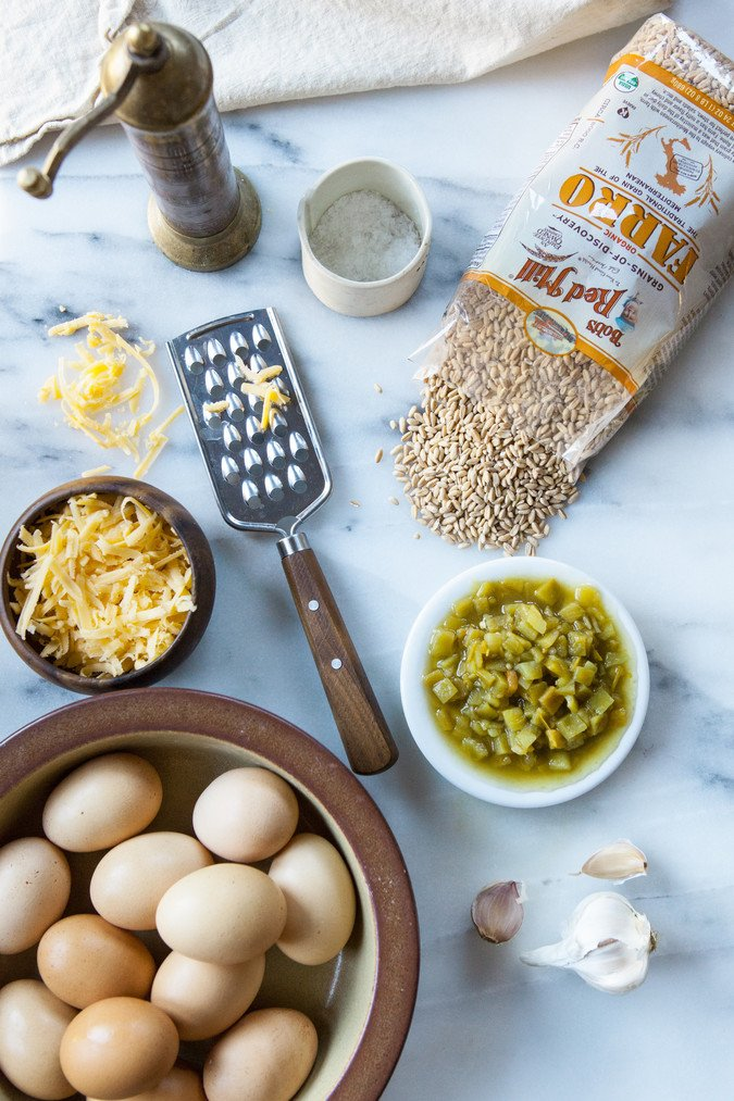 Cheesy Egg, Farro and Green Chile Breakfast Burritos