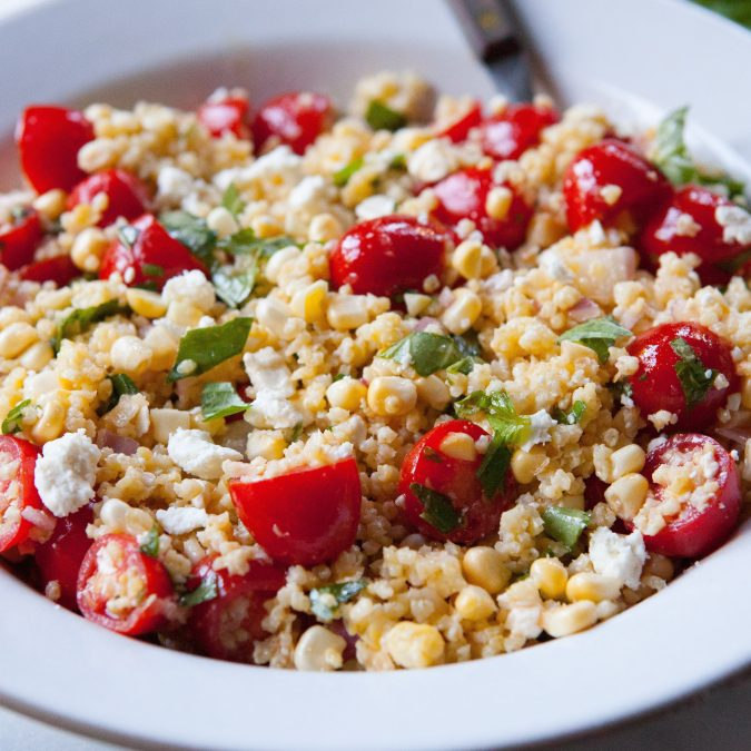 Fresh Corn, Tomato and Millet Salad