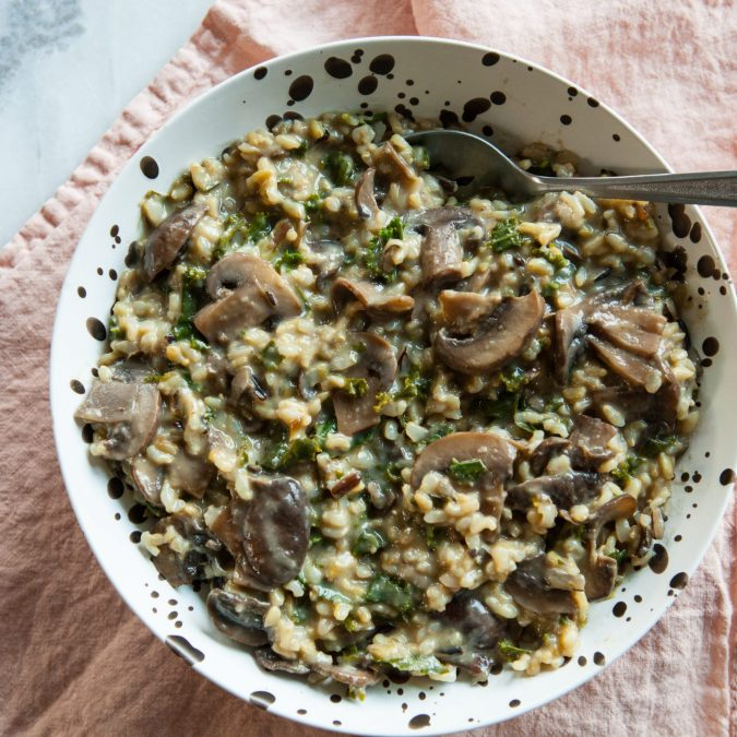 Instant Pot Creamy Wild Rice with Kale and Mushrooms