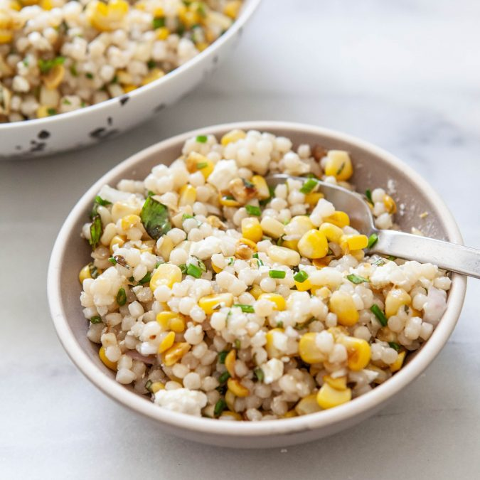 Couscous Salad with Charred Corn and Basil